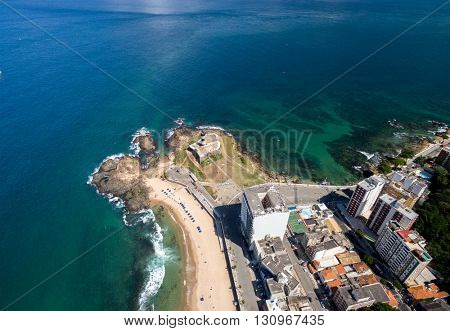 Top view of Barra Lighthouse in Bahia, Brazil