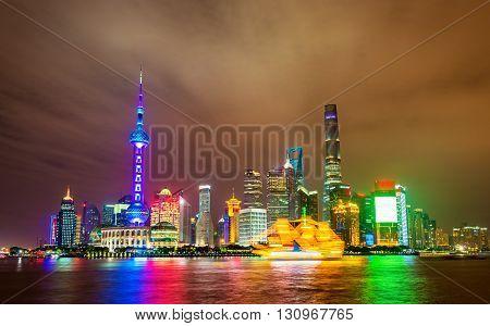 Shanghai skyline above the Huangpu River at night, China