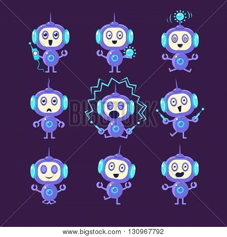 Robot Different Activities Set Of Flat Childish Cartoon Style Vector Drawings Isolated On Dark Background