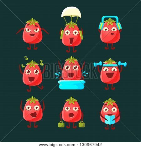 Tomato Cartoon Character Collection Of Flat Childish Simple Style Vector Drawings Isolated On Dark Background