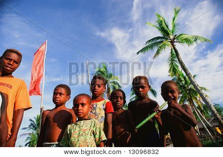 Children Asmat A Tribe.