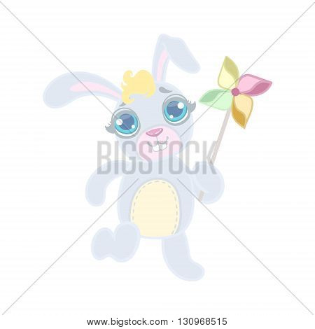Rabbit Playing With Toy Windmill Illustration In Cute Girly Cartoon Style Isolated On White Background