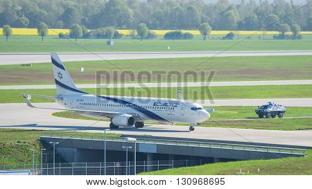 Airplane Boeing 737-800 El Al Israel Airlines In Munich Airport