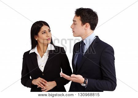 Young Caucasian Business Man Talking To A Business Woman Disapprovingly