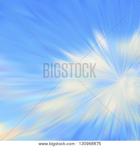 Abstract cloudy blue sky.  Vector iridescent mesh gradient. Colorful blue sky, illusion of oil paintings. Multicolor shades of colors, special effect. Not trace image, include mesh gradient only.