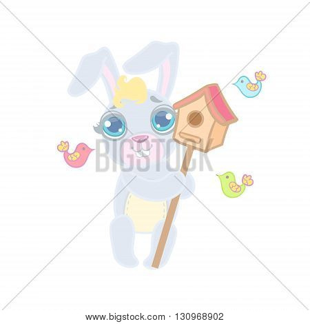 Bunny With The Bird House Illustration In Cute Girly Cartoon Style Isolated On White Background