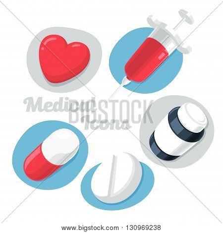 Medical Theme Icons Set Isolated on White Background. (Heart Pills Syrup Syringe). Vector Illustration.