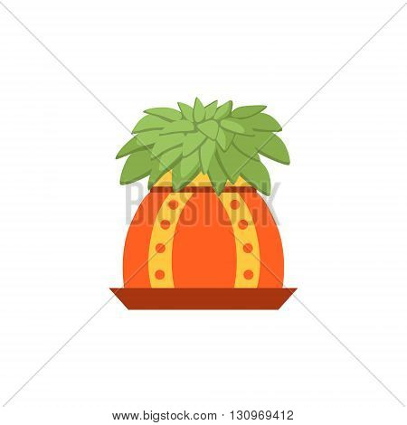 Succulent Plant In A Pot Flat Cartoon Childish Style  Vector Icon Isolated On White Background