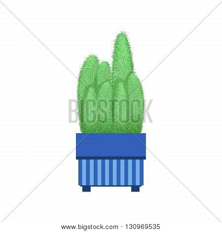 Many Tall Cacti In A Pot Flat Cartoon Childish Style  Vector Icon Isolated On White Background