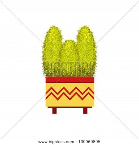 Three Tall Cacti In A Pot Flat Cartoon Childish Style  Vector Icon Isolated On White Background