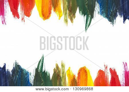 Rainbow colors streaks of paint on white background