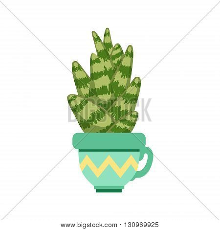 Sansevieria In A Pot Flat Cartoon Childish Style  Vector Icon Isolated On White Background