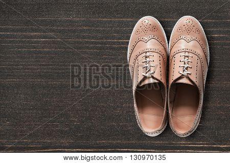 Elegant beige shoes on brown wooden floor