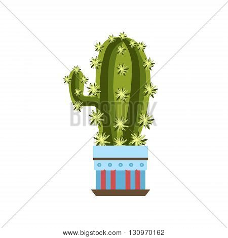 Tall Cactus With One Branch In A Pot Flat Cartoon Childish Style  Vector Icon Isolated On White Background