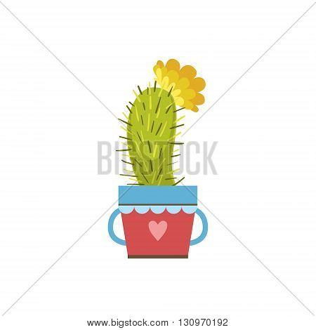 Small Blooming Cactus In A Pot Flat Cartoon Childish Style  Vector Icon Isolated On White Background