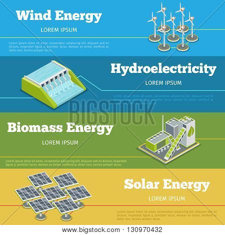 Renewable energy or eco energy infographics concept. Hydroelectricity renewable energy, biomass renewable energy,  windmill and solar renewable energy. Vector illustration
