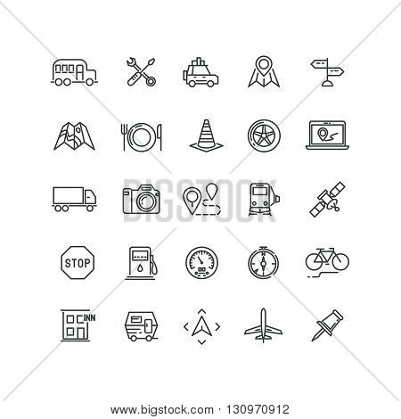 Travel, road traffic and location vector line icons. Transport car traffic road icon, auto traffic travel icon, road traffic icons illustration