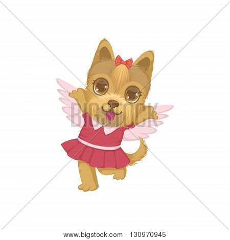 Puppy With The Wings Colorful Illustration In Cute Girly Cartoon Style Isolated On White Background