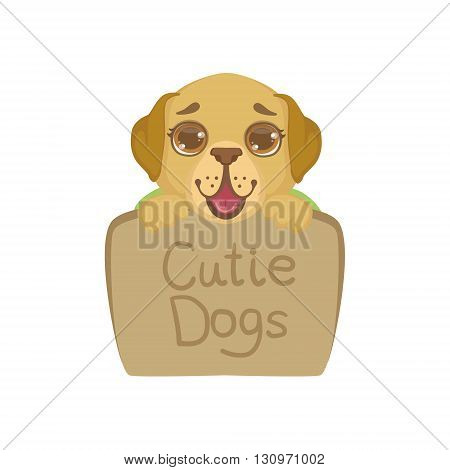 Puppy Behind Stone Sign Colorful Illustration In Cute Girly Cartoon Style Isolated On White Background