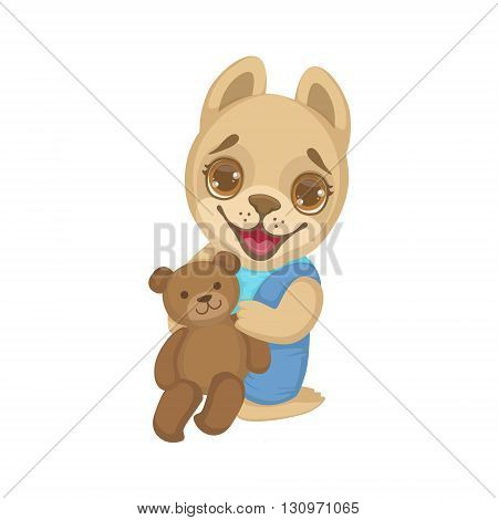 Puppy With Teddy Bear Colorful Illustration In Cute Girly Cartoon Style Isolated On White Background