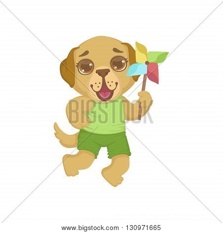 Puppy With Origami Toy Colorful Illustration In Cute Girly Cartoon Style Isolated On White Background