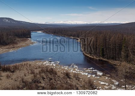 ice drift on the river Chulman in South Yakutia Russia
