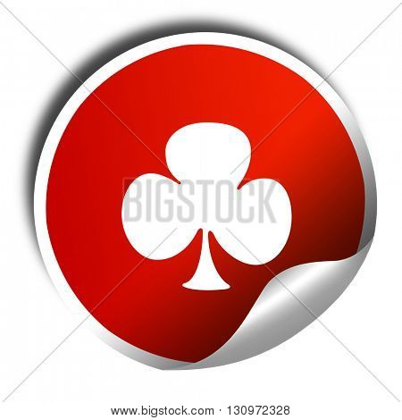 Clubs card background, 3D rendering, red sticker with white text
