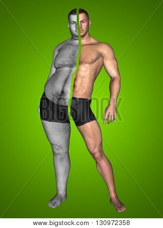 3D illustrattion of a concept or conceptual fat overweight vs slim fit with muscles young man on diet on green background