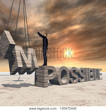 3D illustration of a concept conceptual illustration of business man standing over abstract stone impossible text on sunset sky background