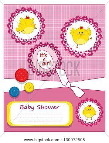 Baby shower invitation card - vector illustration