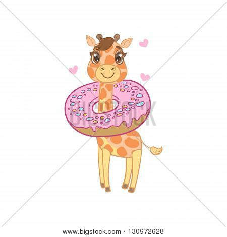 Giraffe With Donut Around The Neck Outlined Flat Vector Illustration In Cute Girly Cartoon Style Isolated On White Background
