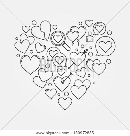 Heart shape or love sign - vector lovely symbol made of thin line heart icons