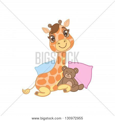 Giraffe With Teddy Bear Outlined Flat Vector Illustration In Cute Girly Cartoon Style Isolated On White Background