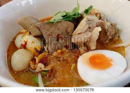 Tom Yum noodle with pork and egg, Thai food,Thai style