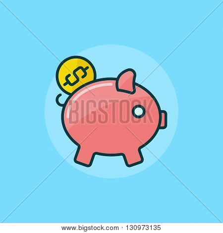 Moneybox flat icon - vector pink piggy bank symbol. Pig with coin illustration on blue background
