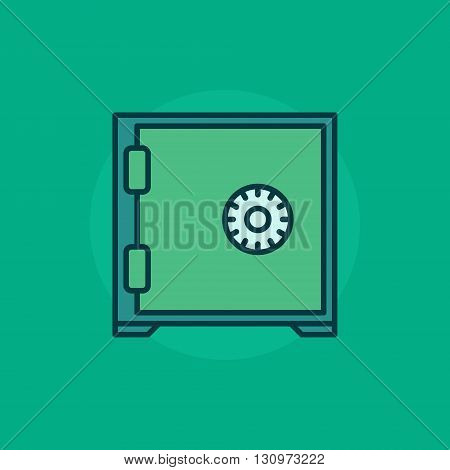Safe flat icon - vector colorful green bank safe sign. Safe symbol colorful symbol