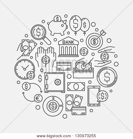 Saving money round illustration - vector money saving concept symbol made of thin line icons