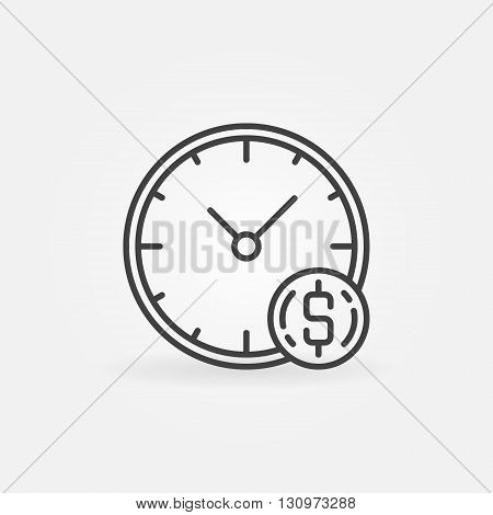 Time is money icon - vector concept symbol made with clock and coin in thin line style