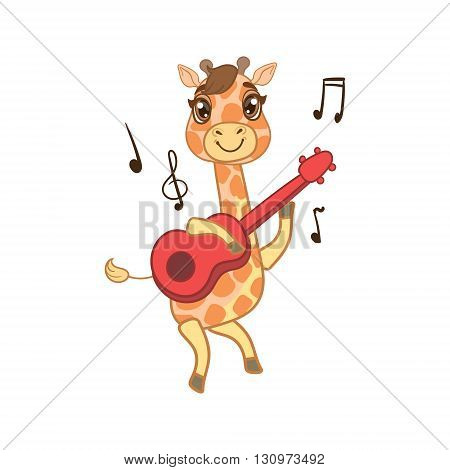 Giraffe Playing Guitar Outlined Flat Vector Illustration In Cute Girly Cartoon Style Isolated On White Background