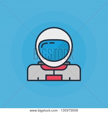 Astronaut flat icon - vector thin line space astronaut symbol or logo element on blue background