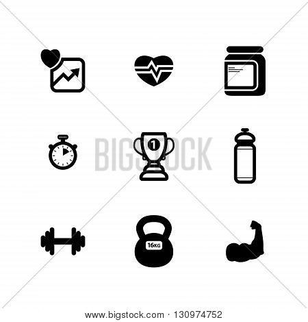 set of black vector flat fitness icons