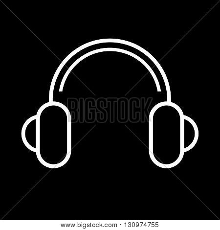 Headphones line art vector icon isolated on a black background.