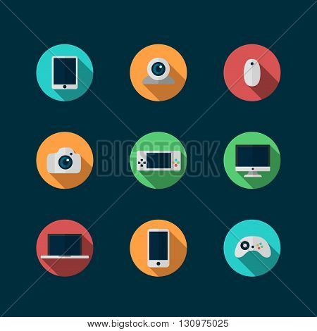 set of technology and devices icons set