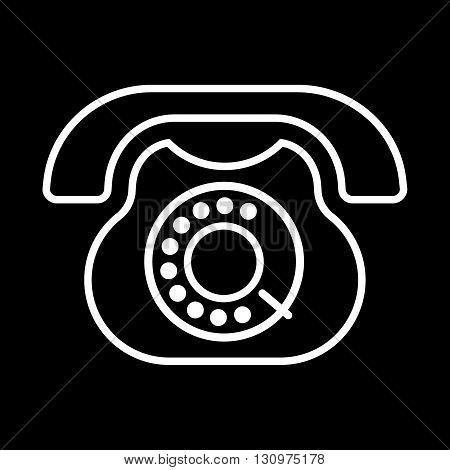 Old phone line art vector icon isolated on a black background.