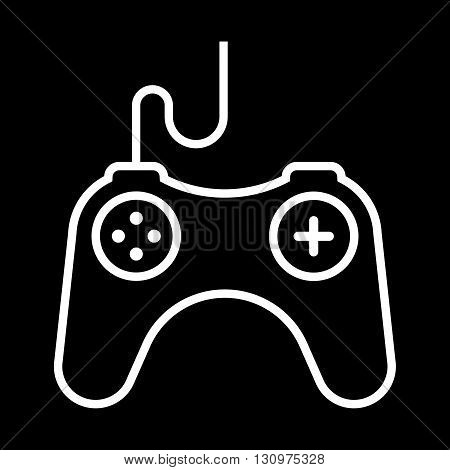 Video Games Controller line art vector icon isolated on a black background.