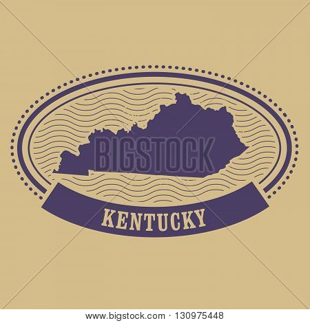 Kentucky map silhouette - old oval stamp