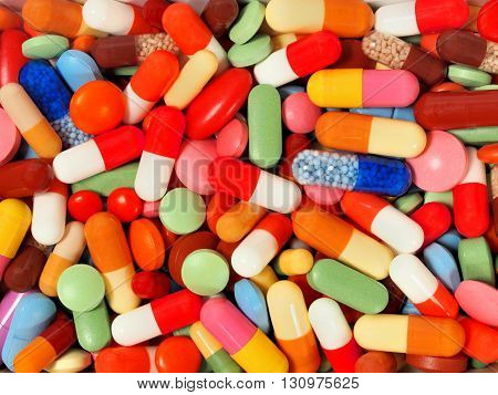 Background made from set of pills and capsules