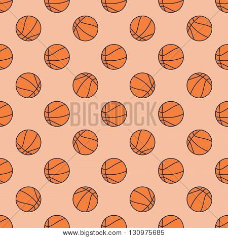 Basketball seamless pattern - vector flat sport texture or background made with basketball balls