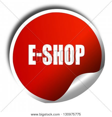 e-shop, 3D rendering, red sticker with white text