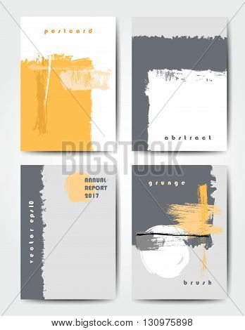 Modern grunge brush postcard template, art vector cards design in bright colors